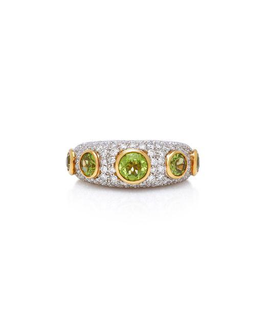 Gioia - Metallic 18k Gold, Peridot And Diamond Ring - Lyst