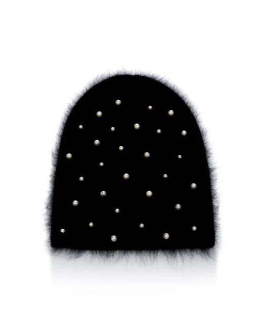 Jennifer Behr - Black Margaux Swarovski Pearl Wool And Alpaca-blend Beanie - Lyst