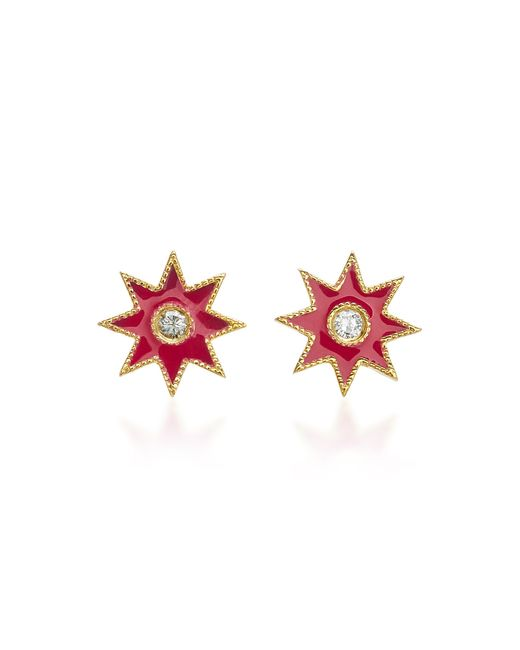 Colette - Pink Star 18k White Gold, Enamel And Diamond Earrings - Lyst