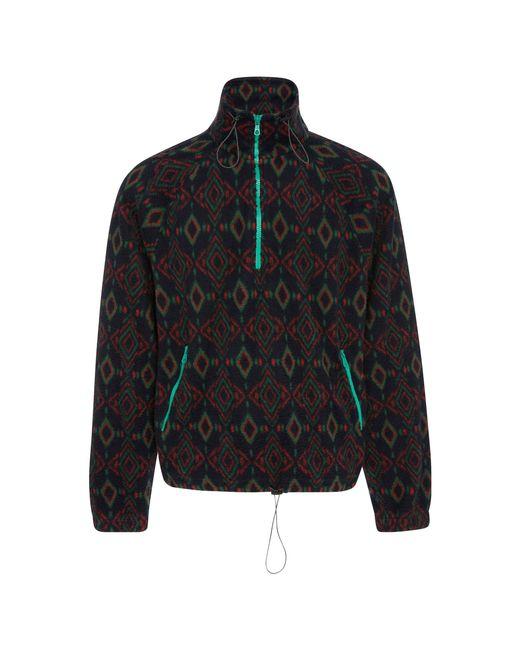 Lanvin - Blue Half-zip Jacquard Fleece Jacket for Men - Lyst
