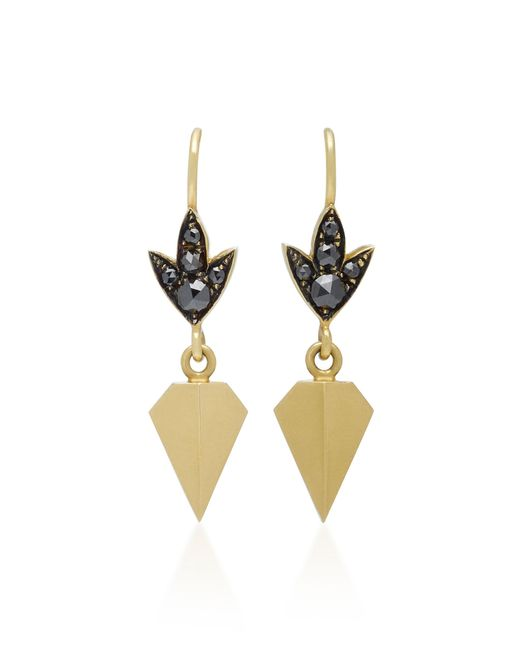 Sylva & Cie - 18k Gold Black Diamond Earrings - Lyst