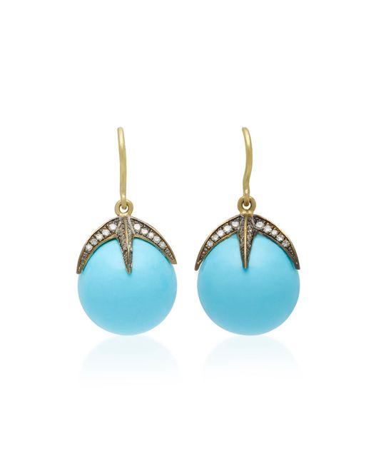 Sylva & Cie - Blue Starlight 18k Gold, Turquoise And Diamond Earrings - Lyst