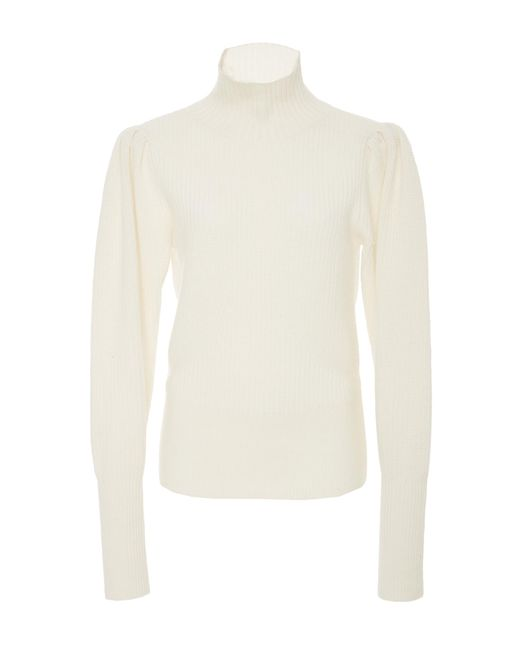 FRAME - White Knitted Sweater - Lyst
