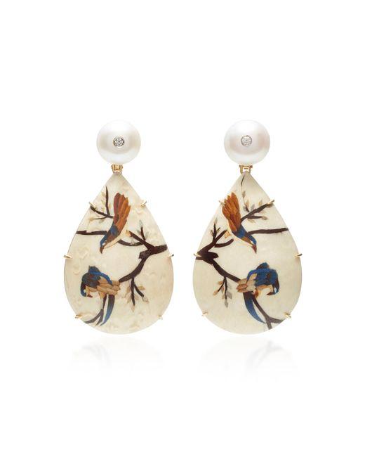 Silvia Furmanovich   White Marquetry Bird Pear Drop Earrings   Lyst
