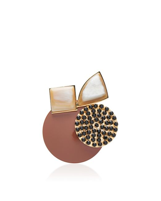 Marni | Brown Collage Brooch | Lyst