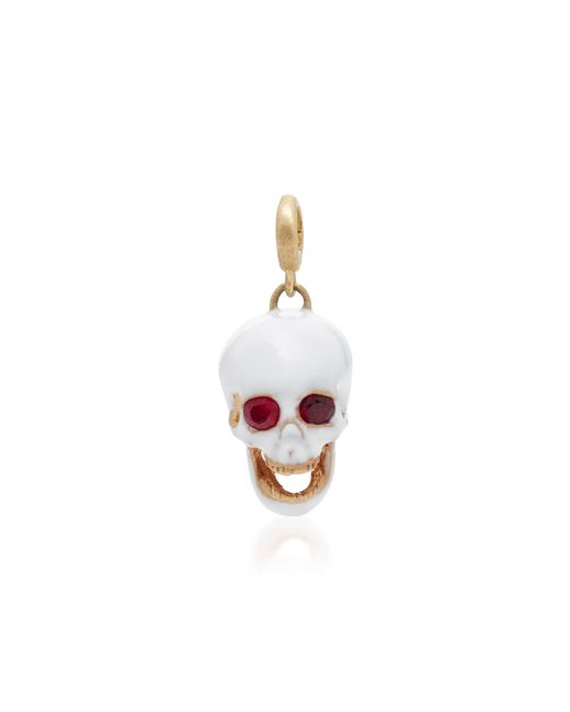 Luis Morais | Red White Medium Enamel Skull Charm With Moveable Jaw And Gemfields Ruby Eyes | Lyst