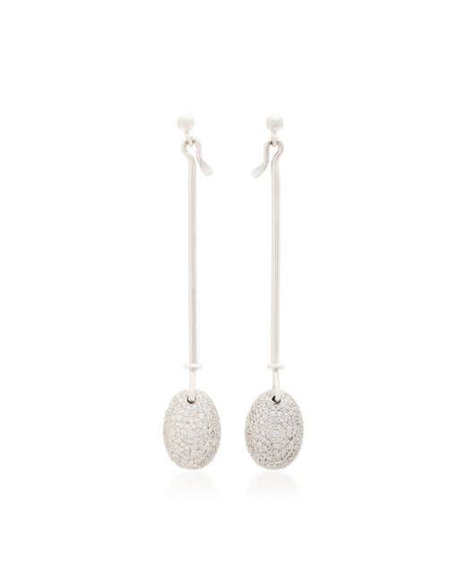 Georg Jensen   White Gold Vivianna Dew Drop Earrings With Diamond Pave   Lyst