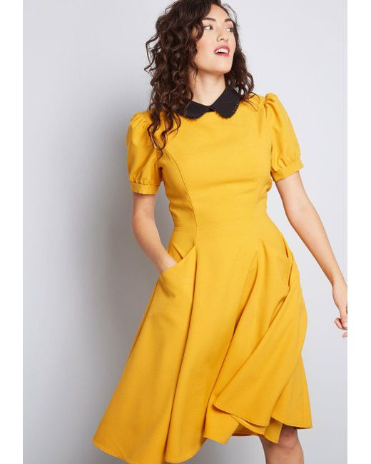Collectif - Yellow Retro Etiquette Collared Dress - Lyst