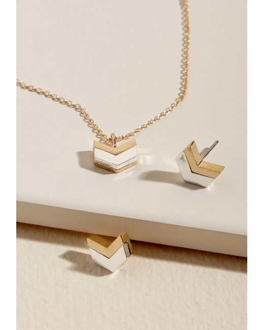 ModCloth | Metallic Chevron Top Of Things Accessory Set In Silver & Gold | Lyst