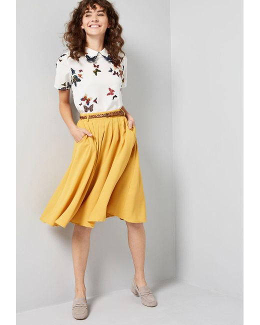 4f74e3f74b ... ModCloth - Yellow Breathtaking Tiger Lilies Midi Skirt - Lyst ...