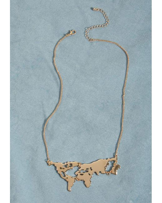ModCloth - Metallic There's A Map For That Necklace - Lyst
