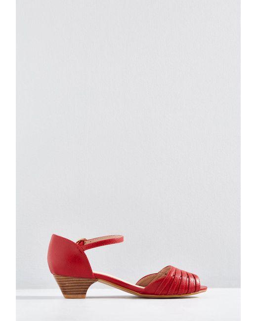 850864015e6c ... ModCloth - Red Mid-height Delights Peep Toe Heel - Lyst ...