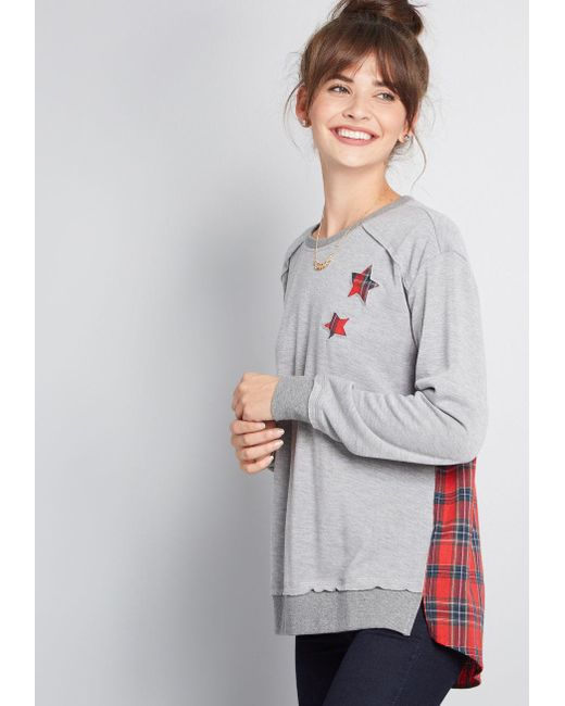 0f5c77c58 Lyst - ModCloth Destined For Respite Twofer Knit Top in Gray