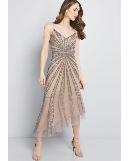 55dd015f87a0 Adrianna Papell - Natural Seeing Sparks Beaded Dress - Lyst ...