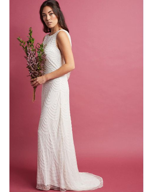 ModCloth - White Graceful Grandeur Maxi Dress In Ivory - Lyst