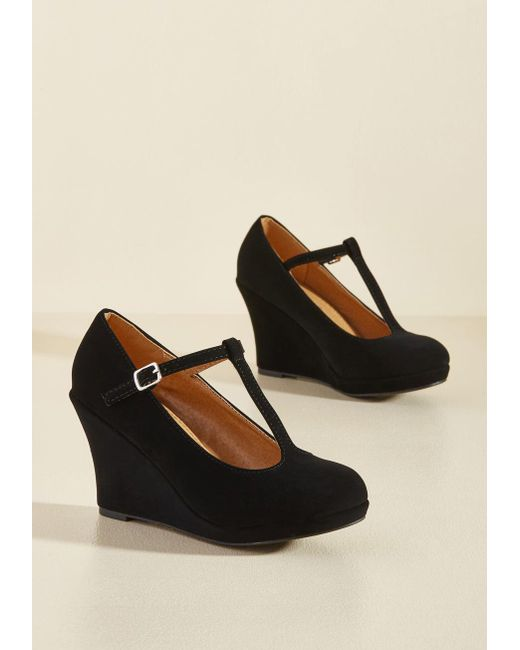 ModCloth - Dashing To Dinner Wedge In Black - Lyst