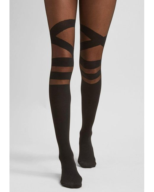ModCloth - Black Strappy To Be Here Tights - Size Os - Plus Sizes Available - Lyst