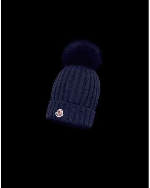 91b71c56a393 Moncler Hat in Blue - Lyst