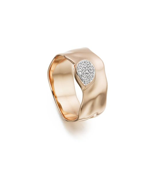 Monica Vinader | Pink Siren Diamond Wide Band Ring | Lyst