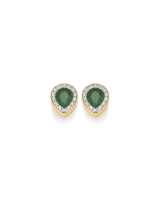 Monica Vinader | Green Naida Lotus Stud Earrings | Lyst