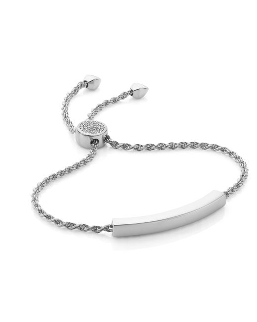 Monica Vinader | Metallic Linear Diamond Toggle Chain Bracelet | Lyst