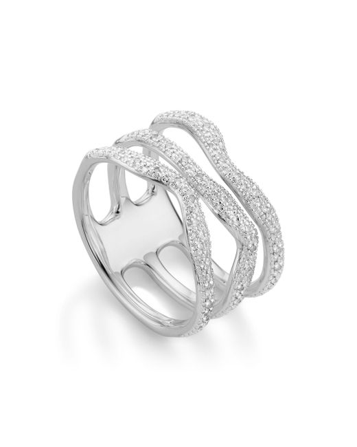Monica Vinader | Metallic Riva Diamond Wave Triple Ring | Lyst
