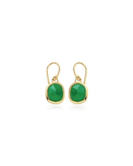 Monica Vinader - Green Siren Wire Earrings - Lyst