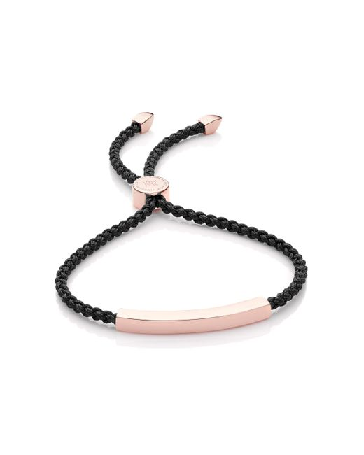 Monica Vinader | Black Linear Friendship Bracelet | Lyst