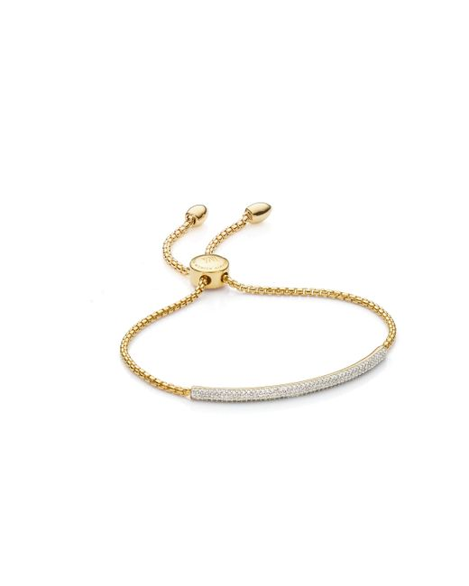 Monica Vinader - Metallic Fiji Diamond Mini Bar Bracelet - Lyst