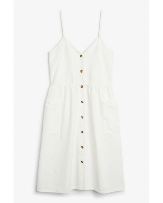 24b81b9454ab Monki Denim Dress in White - Lyst