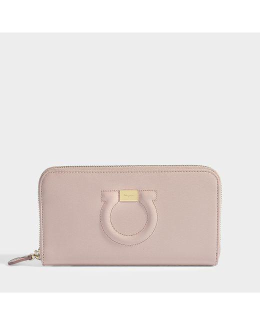 Ferragamo - Gancio City Zipped Wallet In Pink Calfskin - Lyst