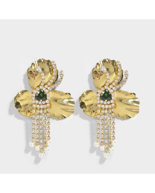 Shourouk - Metallic Orchid Gold Earrings In Gold Brass, Swarovski Crystals And Pearls - Lyst