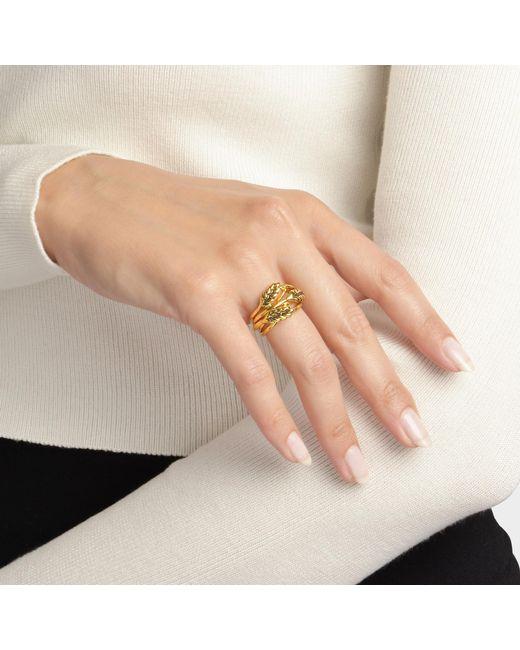 Aurelie Bidermann - Metallic Large Wheat Ring In 18k Gold-plated Brass - Lyst