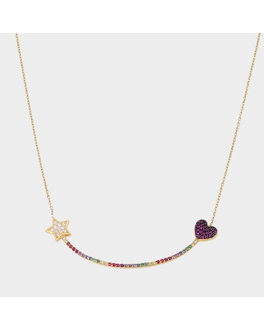 Anton Heunis - Metallic Heart And Star Eternity Necklace In 14k Gold And Diamonds - Lyst