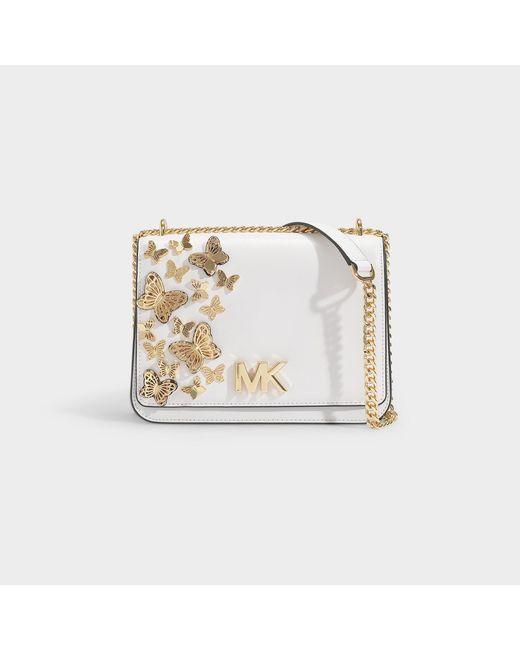 5e47aaef3700 MICHAEL Michael Kors - White Mott Large Butterfly Embellished Leather  Crossbody Bag - Lyst ...
