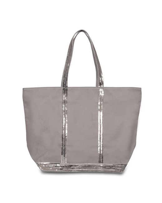 Vanessa Bruno - Gray Canvas And Sequins Medium + Zipped Tote Bag In Parma Cotton - Lyst