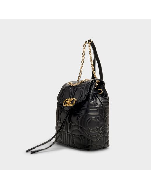 Ferragamo - Gancio Quilting Backpack In Black Calfskin - Lyst