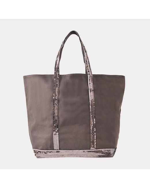 Vanessa Bruno - Gray Sequins And Canvas Medium Zipped Tote - Lyst