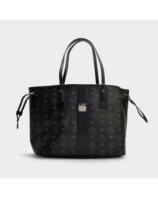 MCM - Reversible Project Visetos Shopper Bag In Black Pvc - Lyst