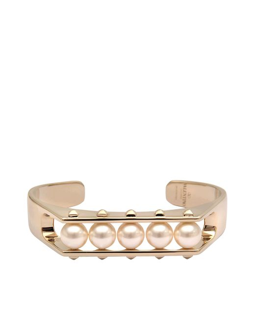 Valentino | Metallic Rockstuds Pearl Bracelet | Lyst