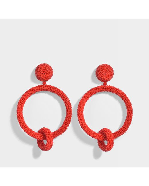 Oscar de la Renta - Red Beaded Double Hoop Clip Earrings In Carmine Synthetic - Lyst