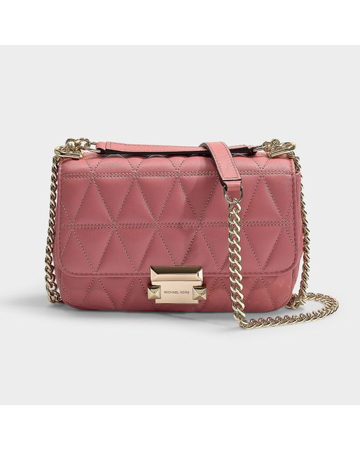 fa0d51759390 MICHAEL Michael Kors - Pink Sloan Small Chain Shoulder Bag In Rose Quilted  Lambskin - Lyst ...