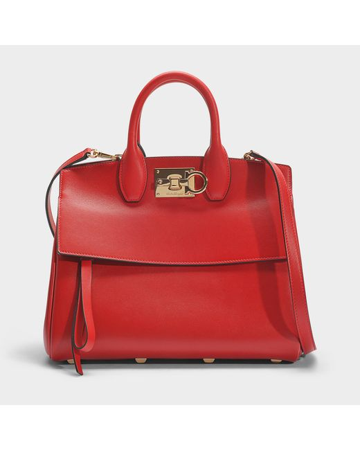 Ferragamo - Studio Small Bag In Red Calfskin - Lyst