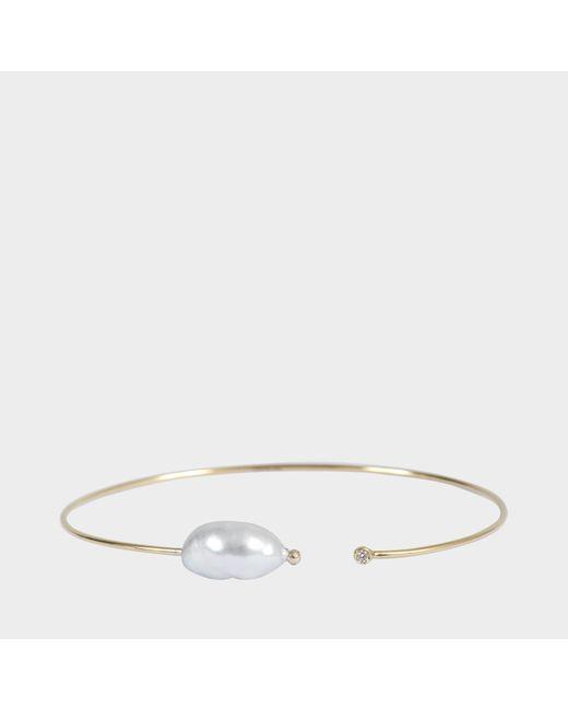 Mizuki - Multicolor Thin Diamond And Pearl Cuff - Lyst