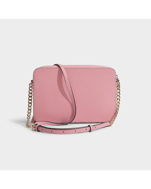 f6159cab67e76d ... MICHAEL Michael Kors - Pink Large East West Crossbody Bag In Carnation  Crossgrain Leather - Lyst ...