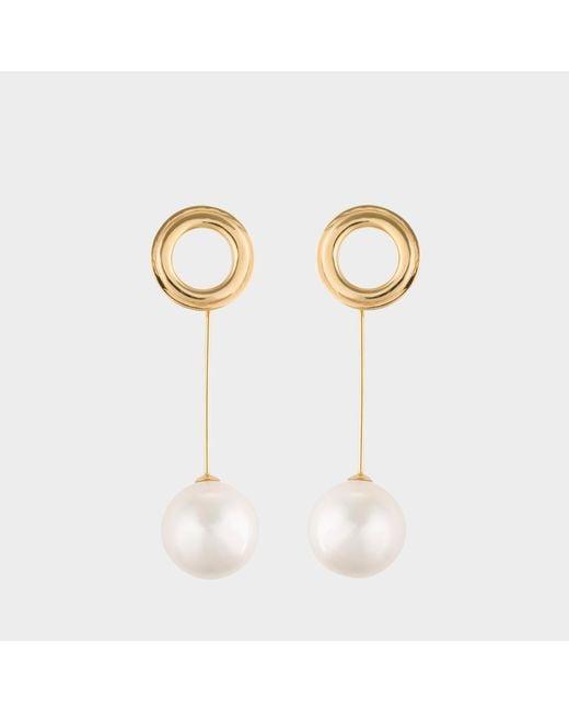 Joanna Laura Constantine - Metallic Gold Plated Grommets Pearl Earrings - Lyst