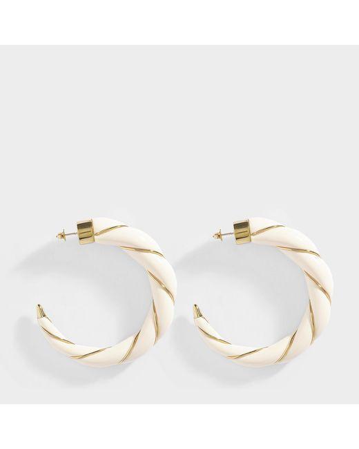 Aurelie Bidermann - Multicolor Diana Hoop Earrings In Ivory Metal - Lyst