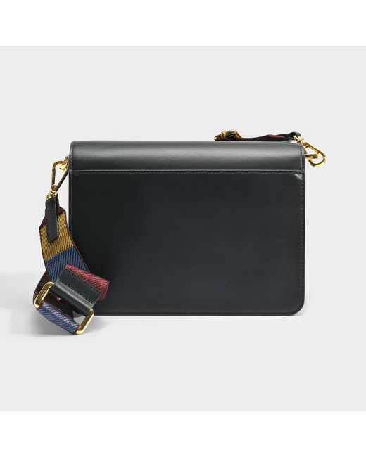 Trunk Medium Bag with Guitar Strap in Black Calf Leather Marni VcdT0lAK