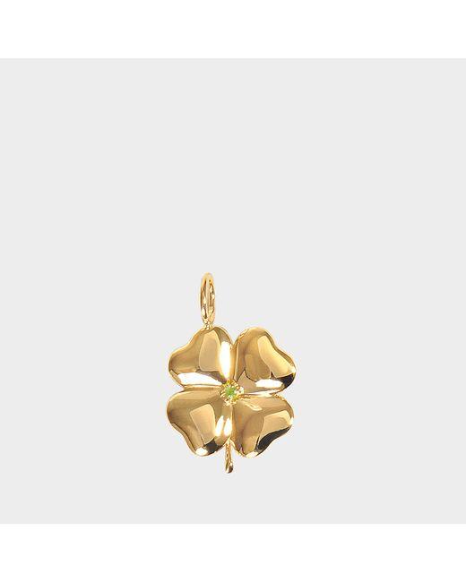 Aurelie Bidermann - Metallic Fine Jewellery - 18k Gold Clover Pendant With Tasvorite Stone - Lyst