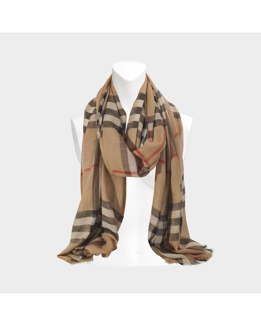 Burberry - Natural Giant Check Gauze Scarf 220x70cm - Lyst